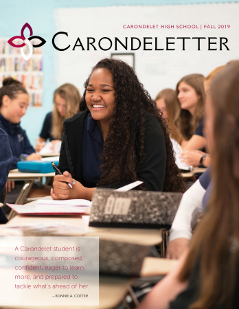 Kamara Lindsey '22 on the cover of the Carondeletter, 2019 Fall