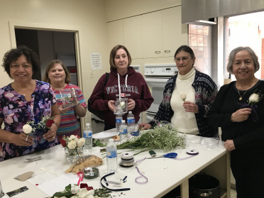 Our Jr Prom Boutonniere assembly crew hard at work.Shelly Mannoni, friend, Susan Fenty Smith'...