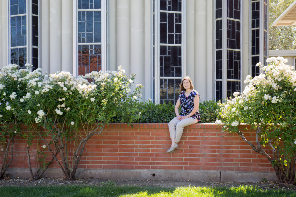 Paige Wallace '13 in one of her favorite places on campus, in front of the Chapel.