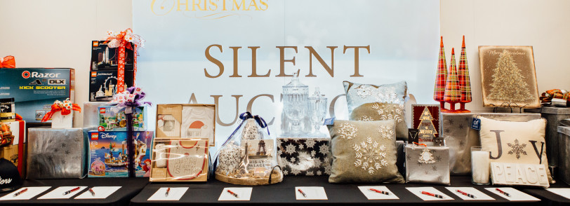 Gifts on display at the Silent Auction at Visions of Christmas 2019