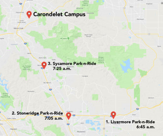 Map of pickup locations for Carondelet Shuttle